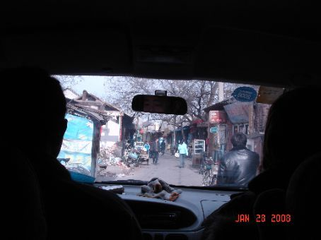 Francis, my former co-teacher, and I decided to head for Beijing. This is us, riding in a van towards the motel we'd be staying in.