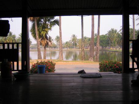 vue sur le parc du centre de massage