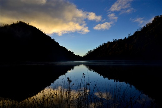 Ranu Kumbolo lake about 2.400 meters above sea level in Mt. Semeru National Park