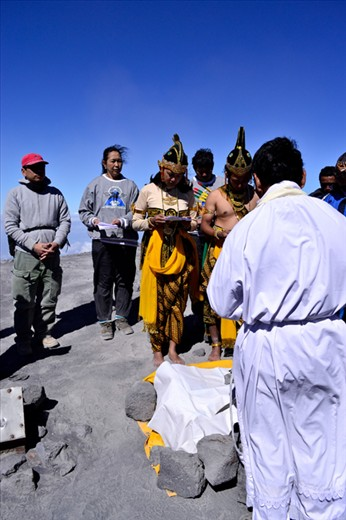 Blessing & Prayer to the wedding couple in top of Mount Semeru after long way