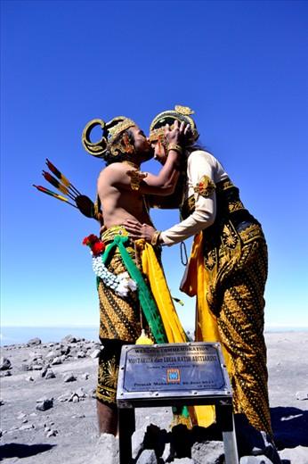 Wedding Commemoration pose with Arjuna and Shinta Traditional costum in Semeru