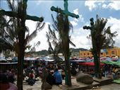 The three crosses symbolize  the trinity. The three crosses sit in the Chamula town center.: by trbryant79, Views[171]