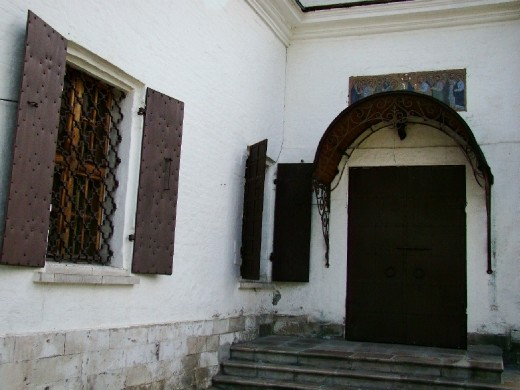 The entrance to the small church