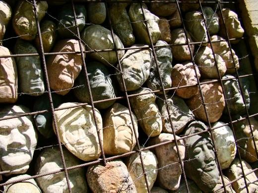 The broken heads close up
