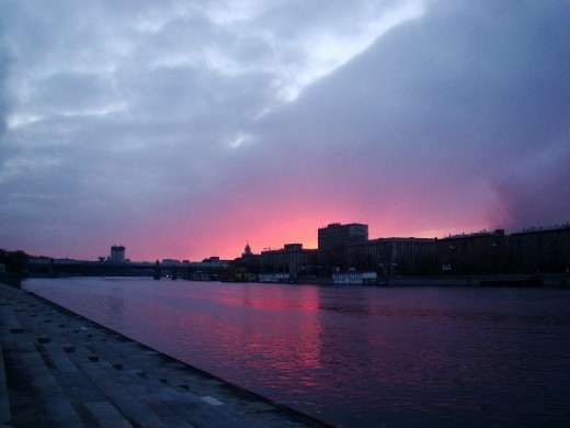 Watching the sunset over the Moscow River