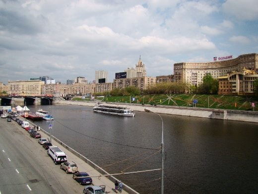 Moscow river as we crossed the bridge to the pier