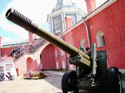 A row of Canons standing inside the Fortress