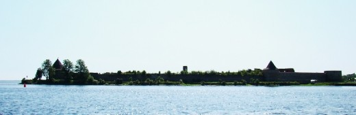 Shlisselburg Fortress on a small island in the distance