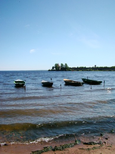 Little fishing boats moored just off the shore