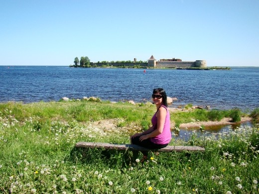 Surrounded by wild flowers with the Fortress in the background