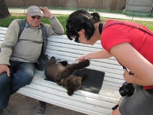 I got to touch and pet the bear cub named Lubaba.