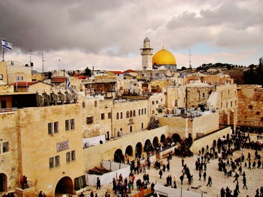 The Western Wall or Wailing Wall of Jerusalem