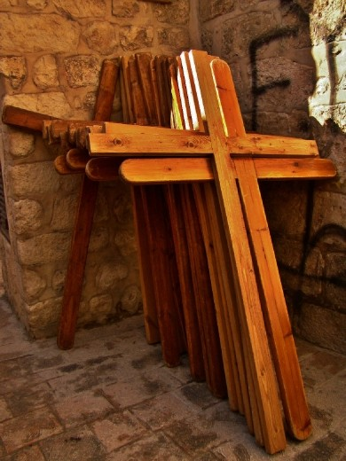 These wooden crosses are used by pilgrims when they walk through the city