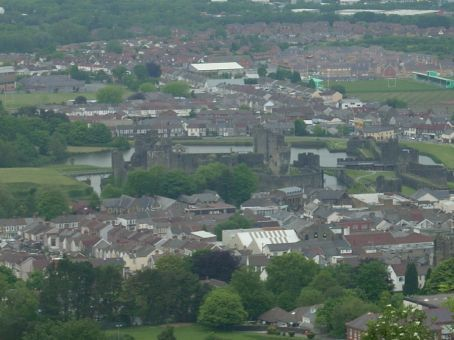 Caerphilly Castle as viewed from the mountain lookout just to the South. You can see how the castle is actually surrounded very closely by town, even though you don't get a sense of that when you are walking around it.