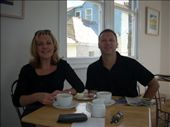 Bron and Ian sampling cornish clotted cream on scones with a couple of excellent coffees: by tregenza_family, Views[139]