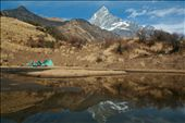 Tourist tent on drying pipar lake with reflection of Mt. Fishtail on it.: by truenepal, Views[589]