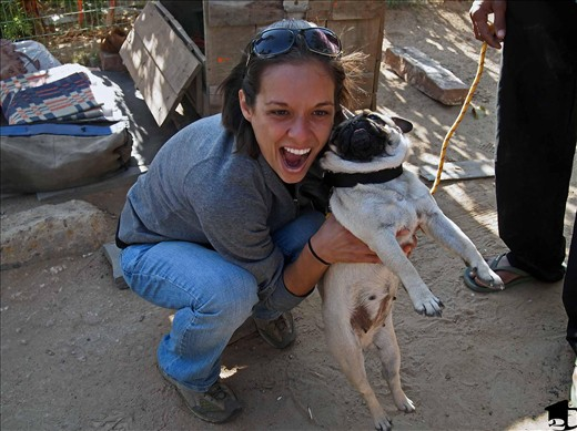 Me with Cathy, the Indian pug.
