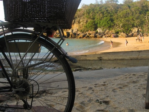 Shelly beach and its basket bearing bicycles is very quaint.