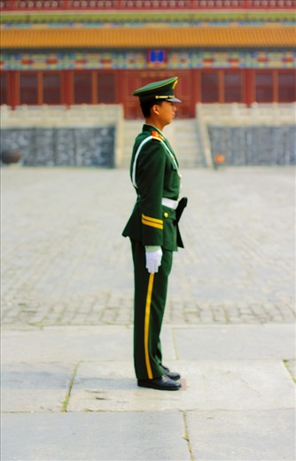 A young soldier taking guard at the Forbidden City in Beijing. China's PLA(People's Liberation Army) is the world's largest military force, with around 3 million members.