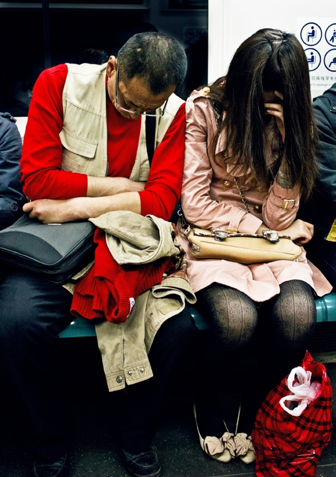 Working hours can be very long and stressful, so very often you meet commuters sleeping on their way back home