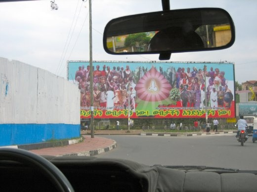 Billboard representing the 80 different tribes in Ethiopia