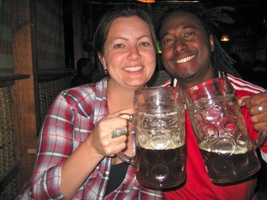 Beckie & Newton having fun at the Beer Garden