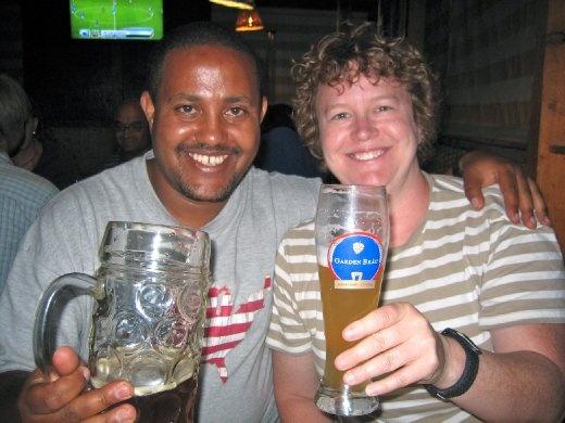Addis & Tracy having fun at the Beer Garden