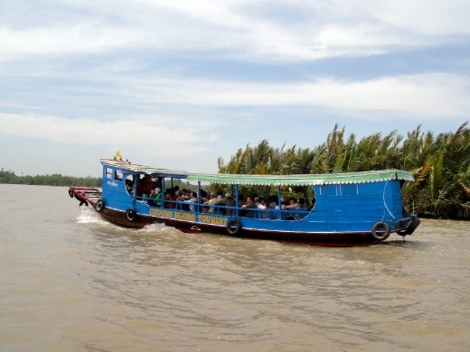Boat ride across the Mekong River