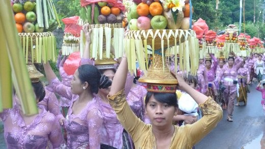 I watched this procession from our kitchen window in one of Ubud's main streets