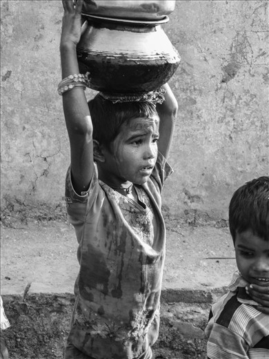 By the sweat of his brow, Gaurav carries the water to help his family. It's not an easy life. You can see the most beautiful and the hardest situations in modern India.