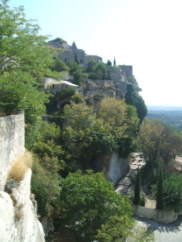 The hilltop town of Les Baux from another hilltop