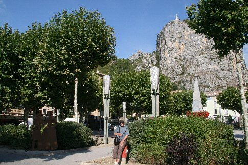 Looking up to the church from the town square in Castellane