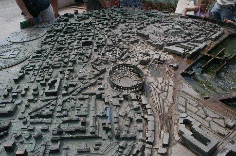 A bronze model of Pula town