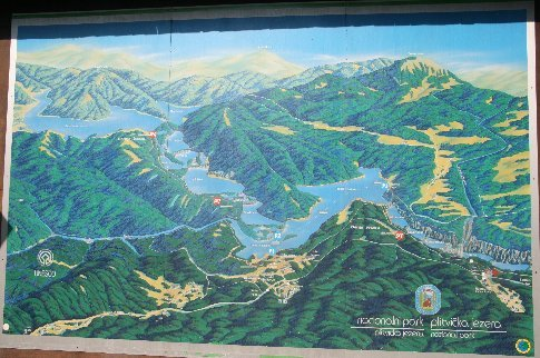 The poster showing part of the Plitvicka National Park lakes