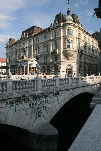 One of the many ornate bridges in Ljubljana
