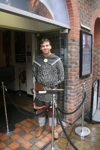One of the staff at the entrance door to Jorvik