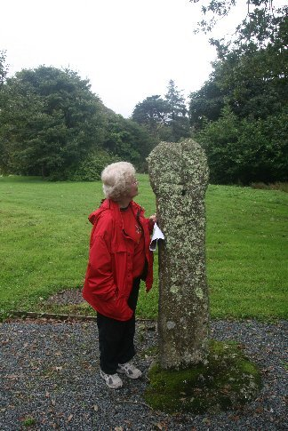 Merran and one of the Ancient Celtic crosses on the grounds at Clowance - our Cornish Timeshare