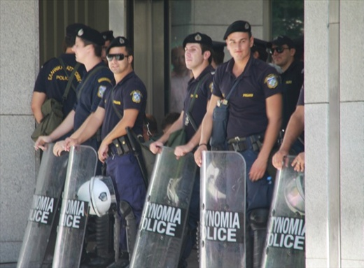Riot police at the ready, Athens