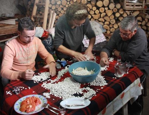 Sorting beans, Agio Germanos, Lake Pespa region