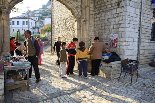 Candy for sale in school yard, Berat