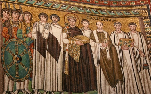 Mosaic of Justinian and troops, Basilica of San Vitale