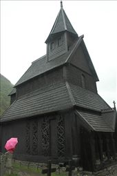 Pink umbrella and Urnes Stave Church, WHS: by vagabonds, Views[803]