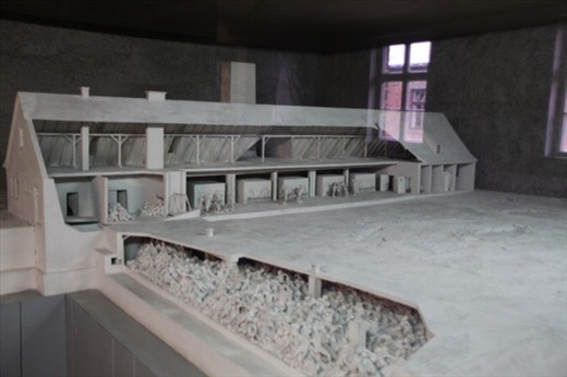 Model of gas chamber and crematorium, Auschwitz