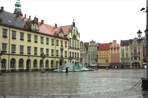 Empty square on All Saints Day, Old Town Wroclaw
