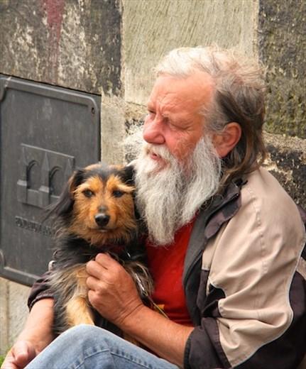 A man and his dog, Prague