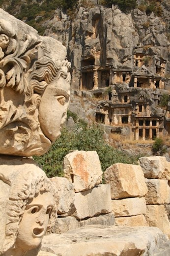 Theatrical faces and Rock cut tombs of Myra
