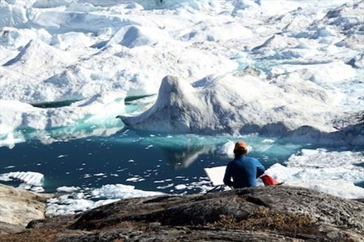 The artist at work, Iluissat, Greenland