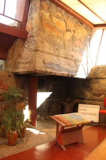 Natural stone fireplace, Taliesin West