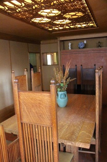 Dining room and furniture, designed by FLW