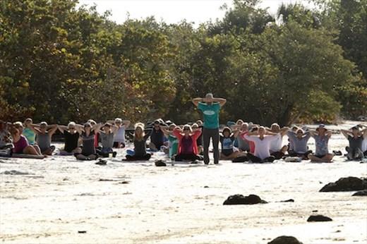 Saturday morning yoga, Bunche Beach Reserve